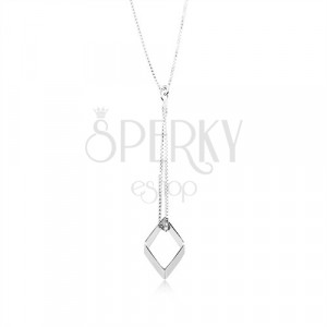 925 silver necklace, rhombus contour dangling on a chain