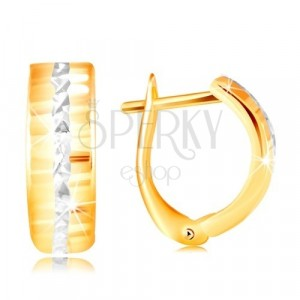 14K gold earrings – shiny ground surface, line of white gold in the center