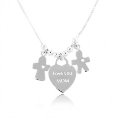 "Silver necklace 925, heart with the inscription ""Love you MOM"", boy and girl"