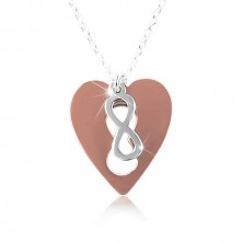 Necklace made of silver 925 – copper heart with INFINITY symbol