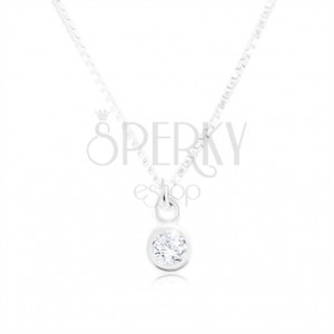 Silver 925 necklace, shiny chain with angular links, clear zircon