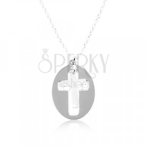Necklace made of silver 925 – a shiny oval with a matt cross in the middle