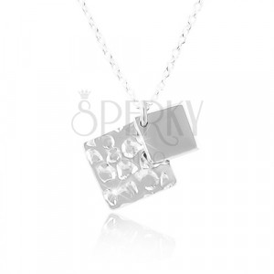 Silver necklace 925, two rhombuses, chain with oval eyelets