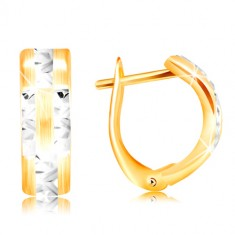 14k gold earrings – matt arc with shiny lines made of white gold