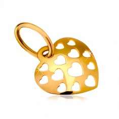 585 gold pendant – shiny convex heart decorated with carved hearts