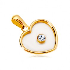 Pendant in 14K yellow gold – heart with nacre filling and a clear zircon in the middle