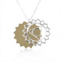 925 silver necklace, carved sun in two colours, shiny cut-outs