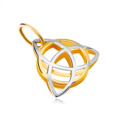 Pendant in two colors in 14K gold – triangular celtic knot with a circle