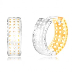 14K gold earrings - ring made of yellow and white gold, holes