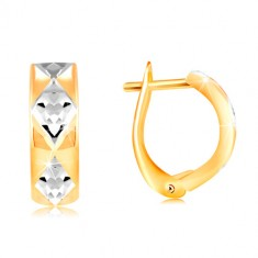 Earrings made of 14K gold - shiny arc adorned with rhombuses in white gold