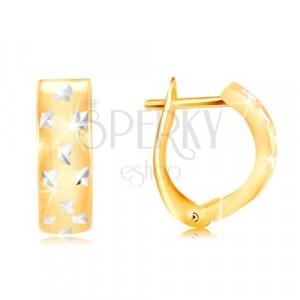 Earrings made of 585 gold - matt arc with tiny shiny crosses