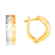 585 gold earrrings - convex arc with diagonal cuts, white and yellow gold