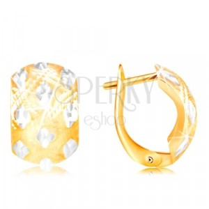 Earrings in 14K gold - wide arc with small rhombuses made of white gold