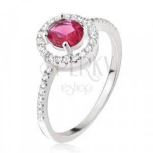 Silver ring 925 - round pink-red zircon, clear border