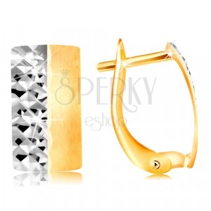 Earrings in 585 gold - matt strip with matt yellow and shiny white half