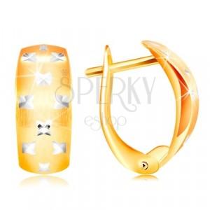 Gold 14K earrings - matt arc, tiny shiny crosses made of white gold