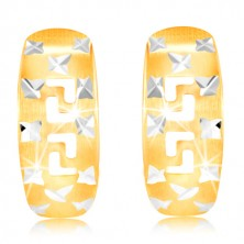 Earrings in 585 gold - matt arc with shiny crosses and Greek key