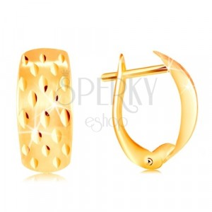 Earrings in yellow 14K gold - shiny cuts on a matt arc