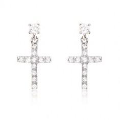 Earrings in 14K white gold - small Latin zircon cross