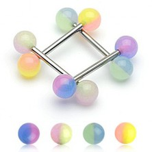 Tongue ring a two coloured ball