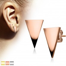 Stainless steel earrings, big shiny triangle