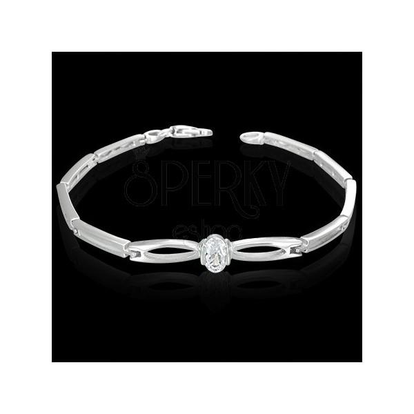 Fine wrist bracelet - clear zircon between teardrops