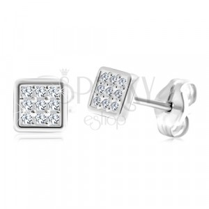 987efbfed Stud earrings made of 14K white gold - square with embedded zircons ...