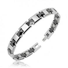 Tungsten bracelet, rectangular links with black prisms, magnets