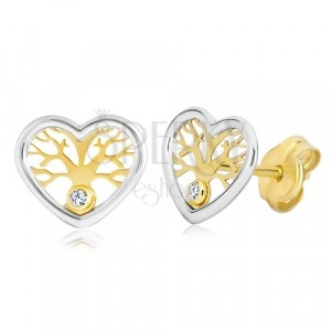 Earrings made of 585 gold - heart in two colours with tree of life and zircon