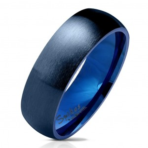 Steel band in dark blue finish, matte and rounded surface, 6 mm