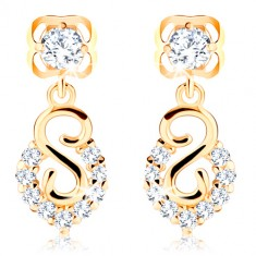 Yellow 585 gold earrings - spiral and arch with glittery brilliants