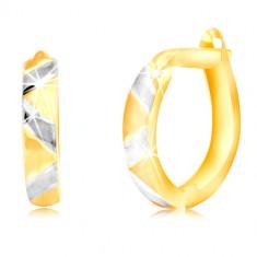 Combined 14K gold earrings with matte zig zag pattern