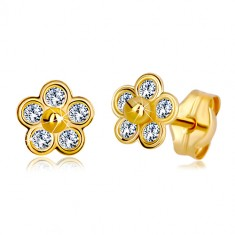 585 gold earrings - five-petal flower with zircons and gold ball in the centre