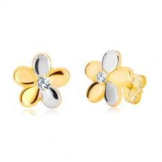 Combined 585 gold earrings - glossy two-colour flower, zircon