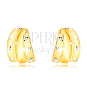 Combined 14K gold earrings - three semi-arches and grains, studs
