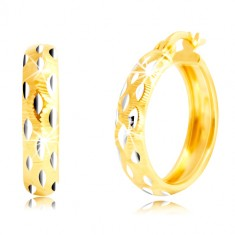 Round earrings made of 14K gold - beads of white gold, tiny cuts
