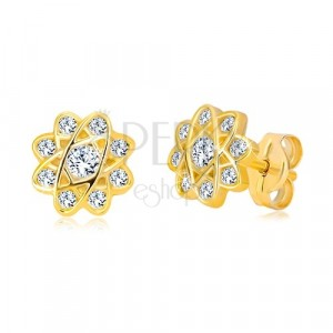 Earrings of yellow 585 gold - flower with oval lines and zircons, studs