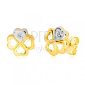 14K gold earrings - contour of symbol of happiness, heart with zircon