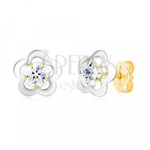Earrings made of 585 gold - flower contour of white gold, cut zircon
