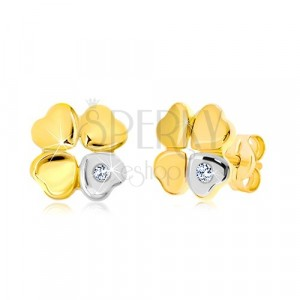 Diamond 585 gold earrings - quatrefoil for happiness, heart with brilliant