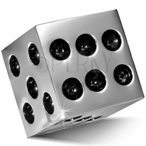 Pendant made of stainless steel - glossy square of silver colour, black dots