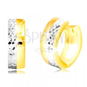 Round earrings of combined 585 gold with refined half