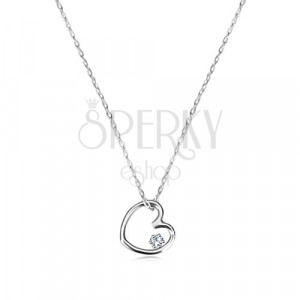 Necklace of white 375 gold - contour of small symmetric heart with zircon