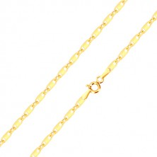 14K gold chain - oval rings, oblong rings with rectangle, 450 mm
