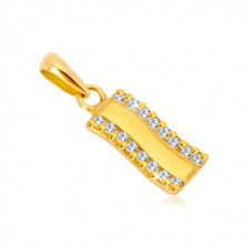 Yellow 585 gold pendant - glossy wavy strip, vertical zircon line
