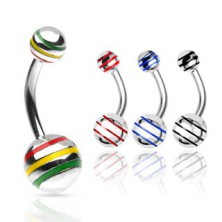 Ball belly ring with colorful lines