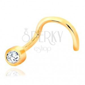 Yellow 585 gold nose bent piercing - clear glittery zircon in mount
