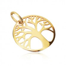 Yellow 375 gold pendant - decoratively carved circle, tree of life