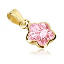 9K gold pendant - flower with five rounded petals, pink zircon