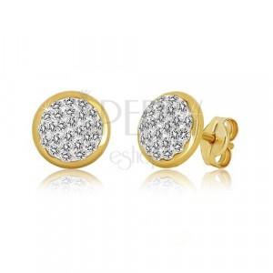 Yellow 375 gold studs - circle inlaid with Swarovski crystals